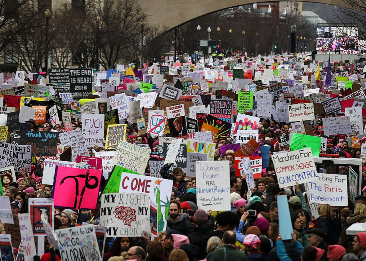 Protesters flood Independence Avenue during the Women's March on Washington January 21, 2017 in Washington, DC.