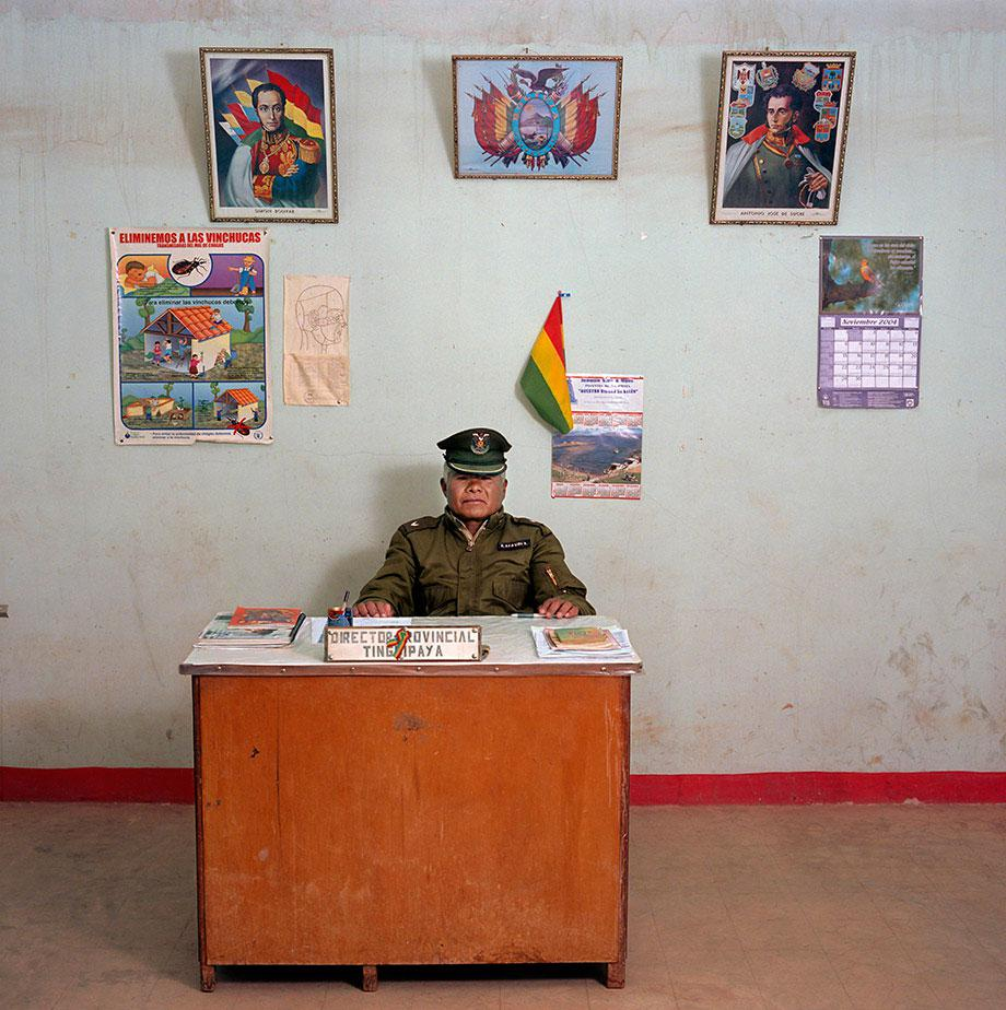 Bolivia, bureaucracy (c) Jan Banning, 2005.Constantino Aya Viri Castro (b. 1950), previously a construction worker, is a police officer third class for the municipality of Tinguipaya, Tomás Frías province. The police station does not have a phone, car or typewriter. Monthly salary: 800 bolivianos.