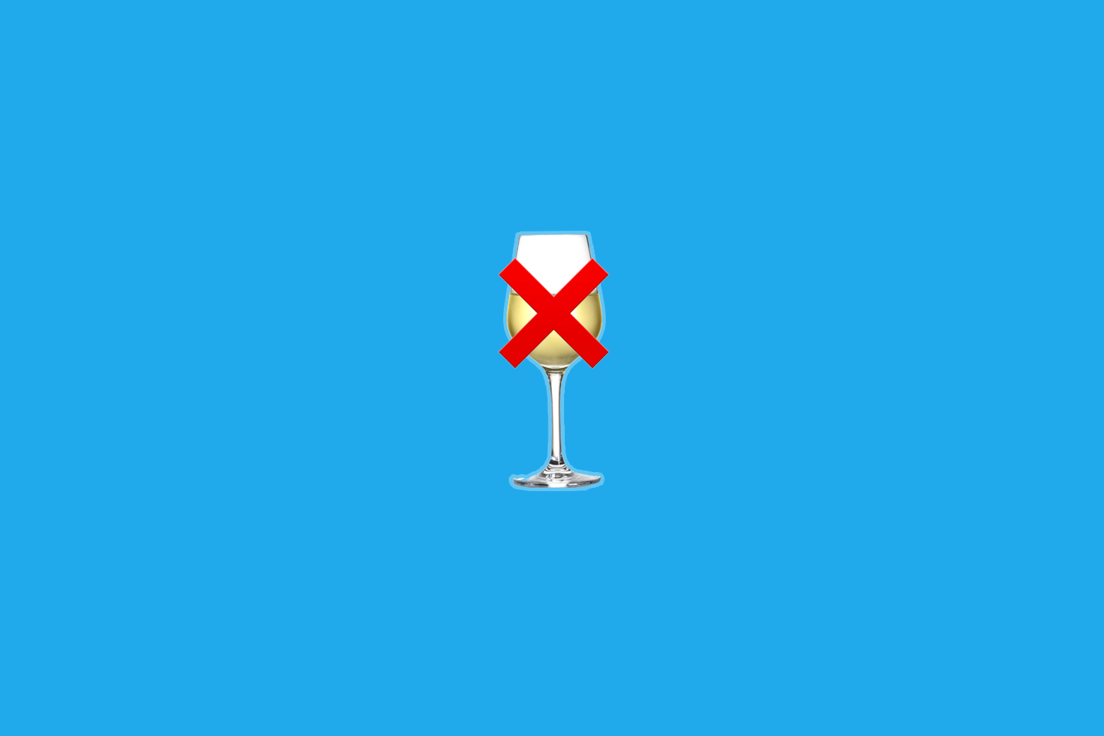 "A fake white-wine emoji with an ""X"" emoji on top of it."