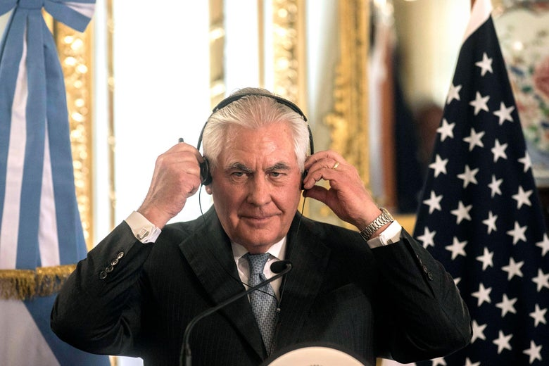 Secretary of State Rex Tillerson is pictured at a press conference at San Martin Palace, in Buenos Aires, on February 4, 2018.