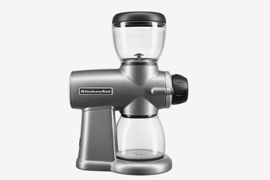 KitchenAid silver grinder.
