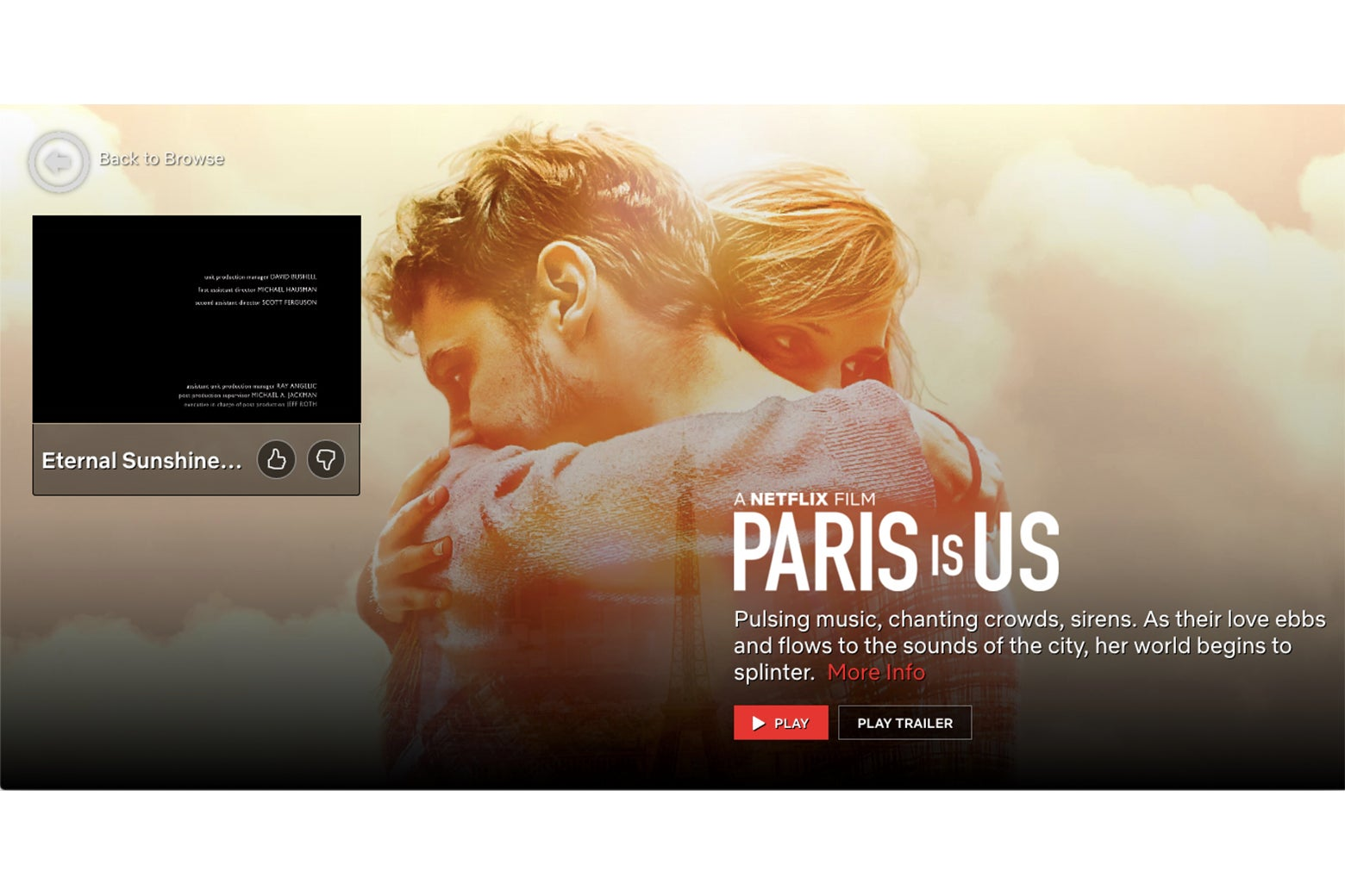 The ending of Eternal Sunshine of the Spotless Mind, buried in an ad for Paris Is Us.
