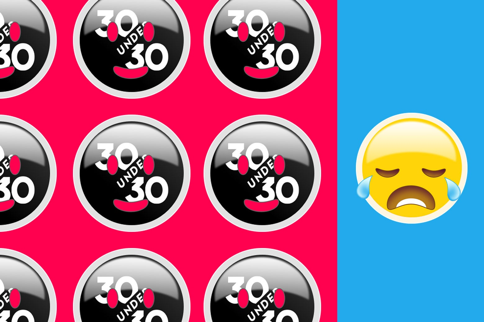 30 Over 30 logo with happy face emojis placed over it and one sad emoji without the 30 Over 30.