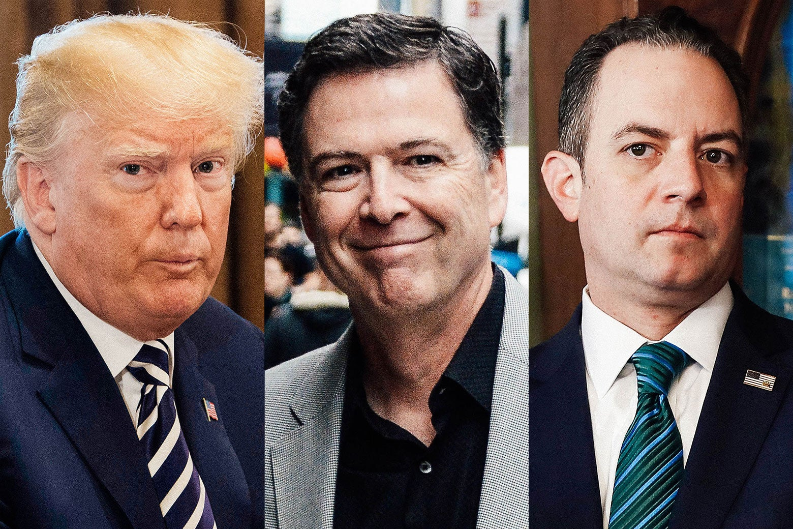 Donald Trump, James Comey, and Reince Priebus side-by-side-by-side.