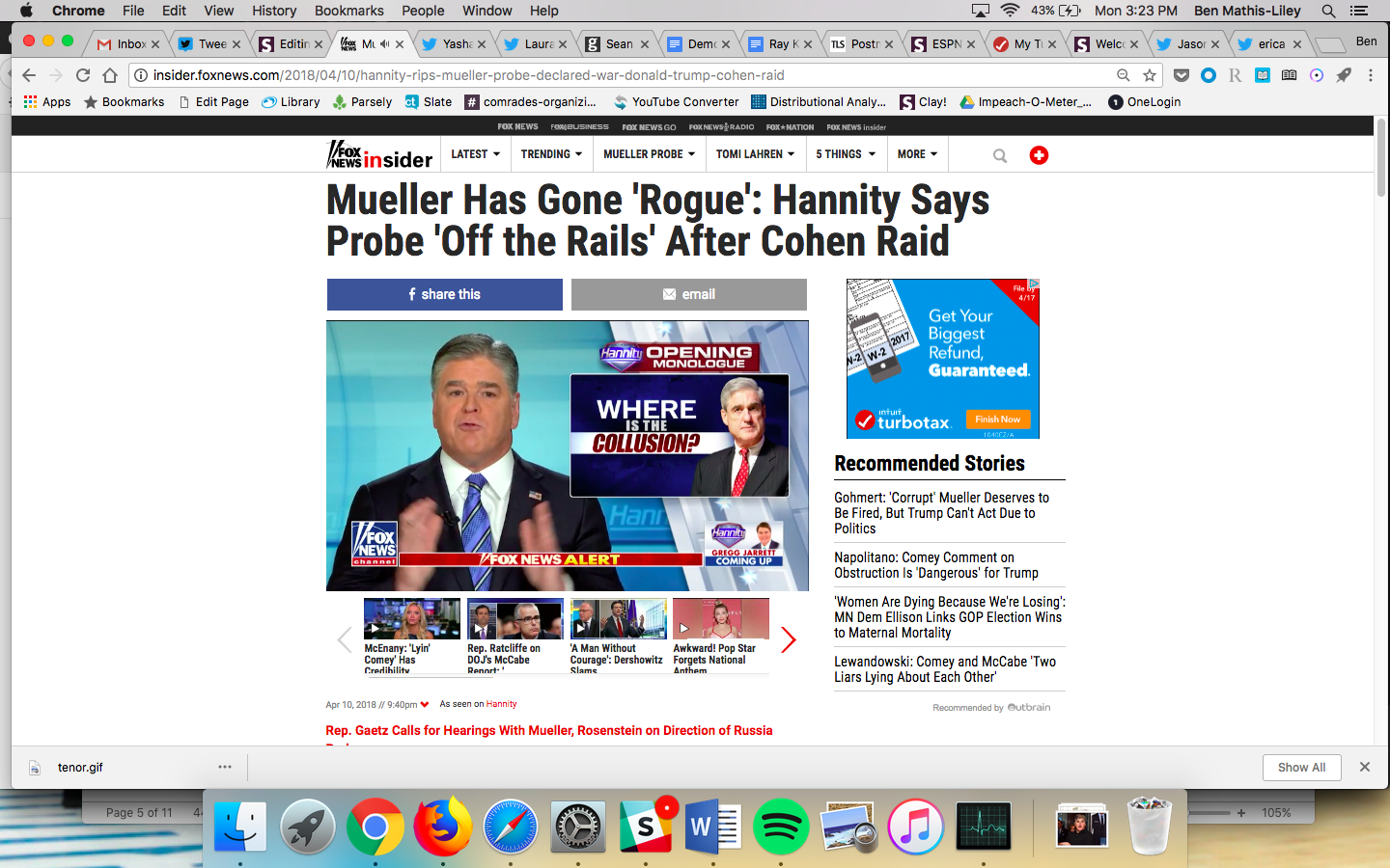"Headline: Mueller Has Gone ""Rogue"": Hannity Says Probe ""Off the Rails"" After Cohen Raid"