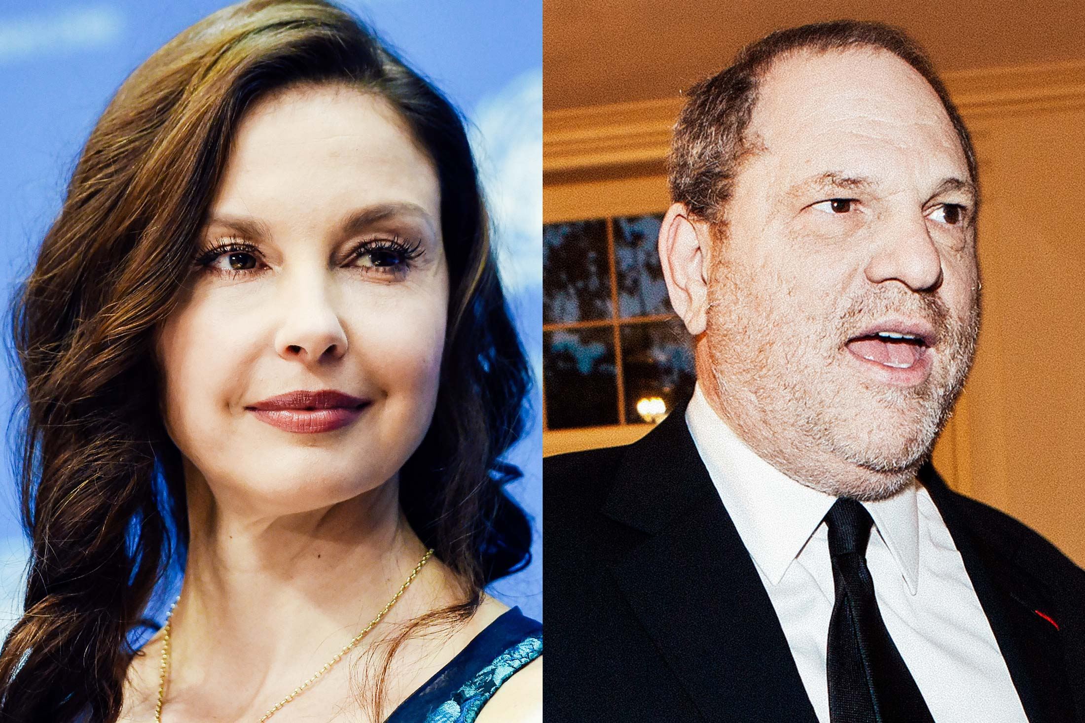 A composite image with Ashley Judd at left and Harvey Weinstein at right.