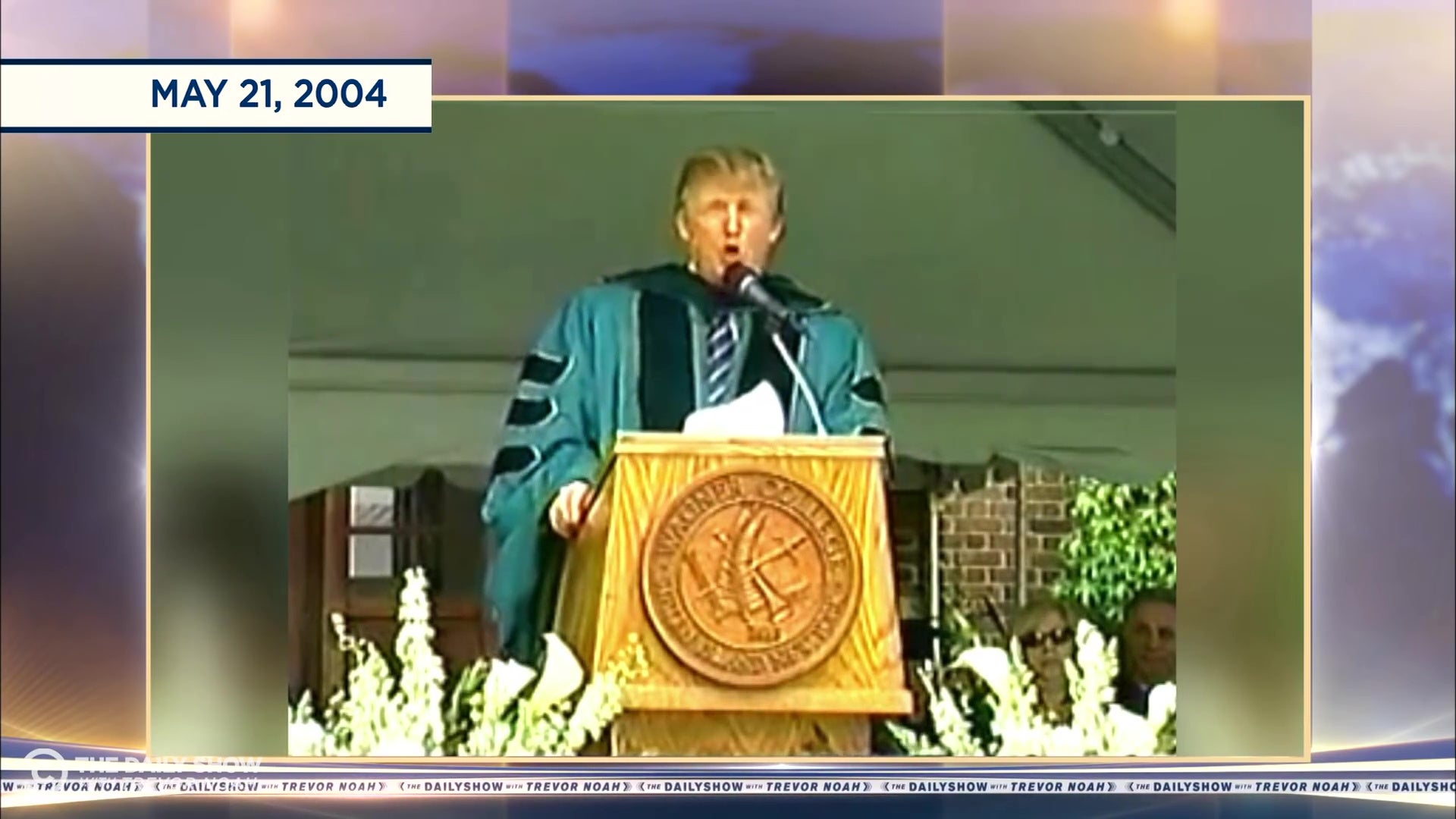 President Trump giving a commencement address.