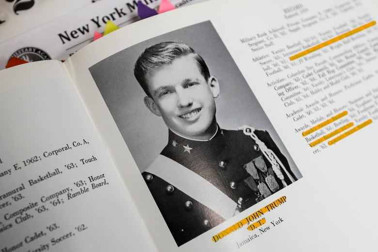 Donald Trump's yearbook photo as a cadet at the New York Military Academy.
