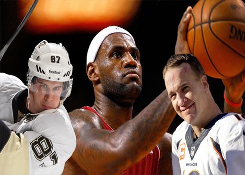 Sidney Crosby #87 of the Pittsburgh Penguins, LeBron James #6 of the Miami Heat, and Peyton Manning #18 of the Denver Broncos.