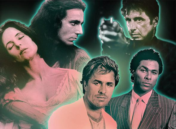 Madeleine Stowe and Daniel Day-Lewis in The Last of the Mohicans; Al Pacino in Heat; and Don Johnson and Philip Michael Thomas in Miami Vice.