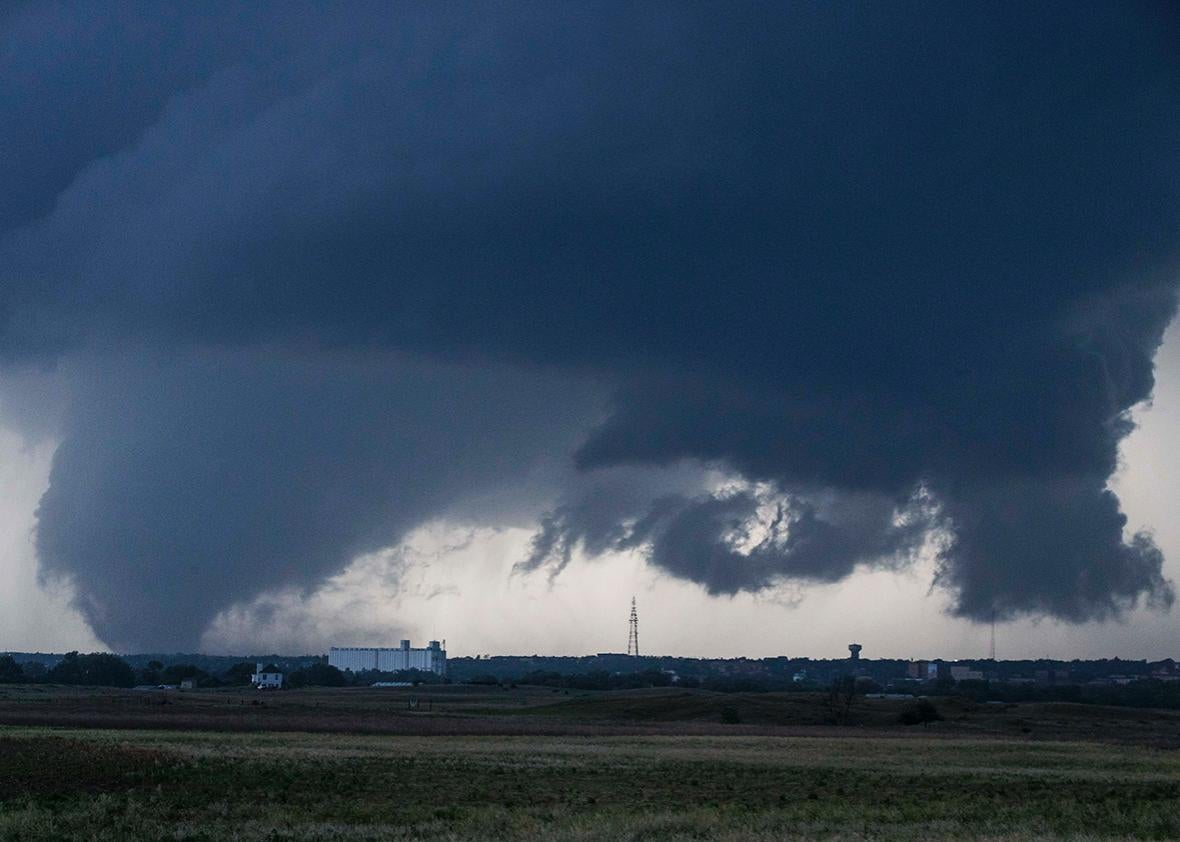 A tornado seen west of Dodge City, Kansas, moving north on May 24.