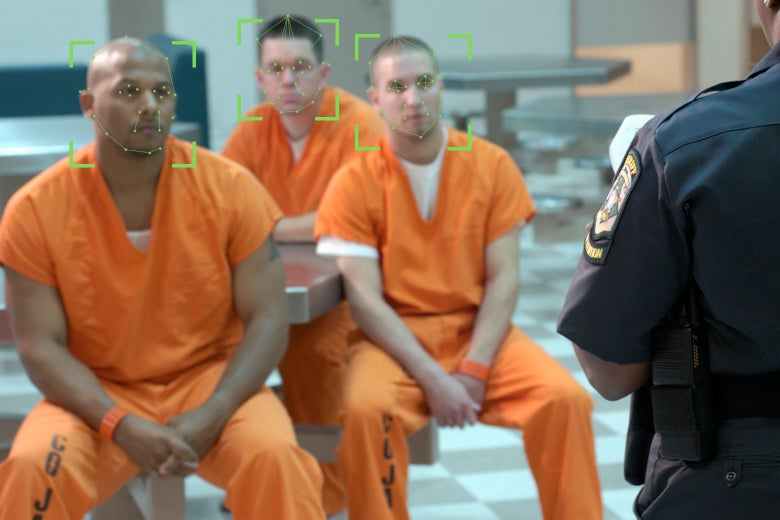 Inmates with facial recognition technology lines on their faces.