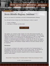 Meth Offender Registry Database.