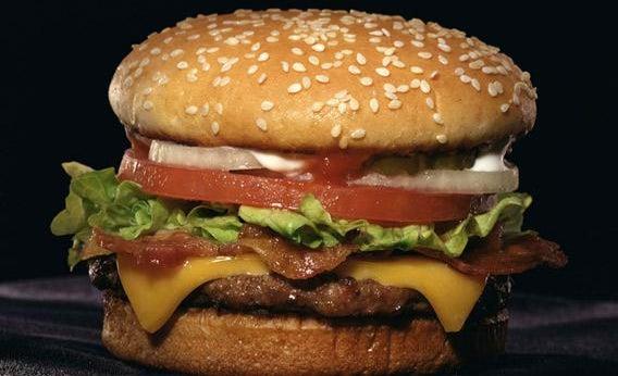 Juicy bacon cheeseburger.
