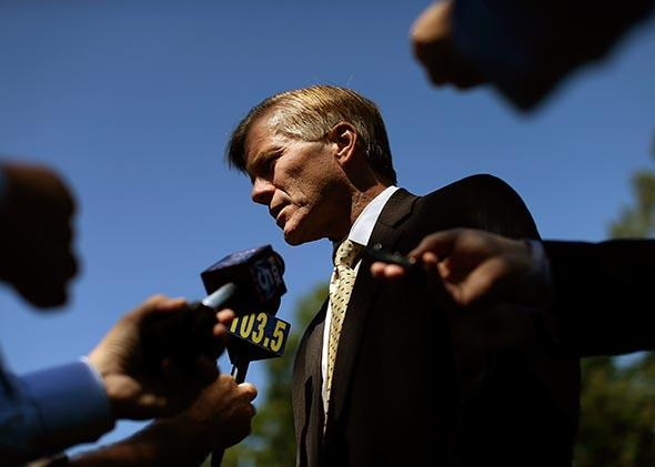 Virginia Gov. Bob McDonnell (R-VA) answers questions following a battleground preservation announcement, August 15, 2013 in Leesburg, Virginia.