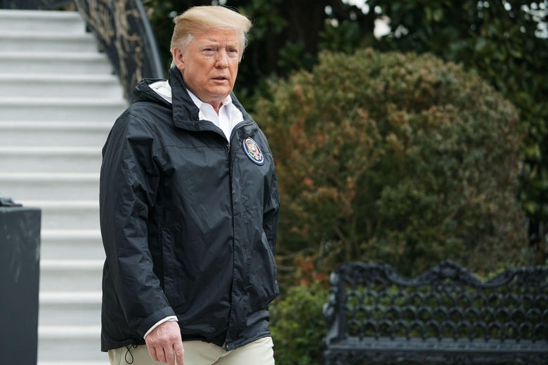 """President Donald Trump is approaching reporters talking before he departs from the Western South Lawn on March 8, 2019 in Washington. , DC """"srcset ="""" https://compote.slate.com/images/f45a56f8-f7a3-4fa8-8b50-130688d6971c.jpeg?width=780&height=520&rect=4864x3243&offset=0x132 1x, https: / /compote.slate.com /images/f45a56f8-f7a3-4fa8-8b50-130688d6971c.jpeg?width=780&height=520&rect=4864x3243&offset=0x132 2x"""