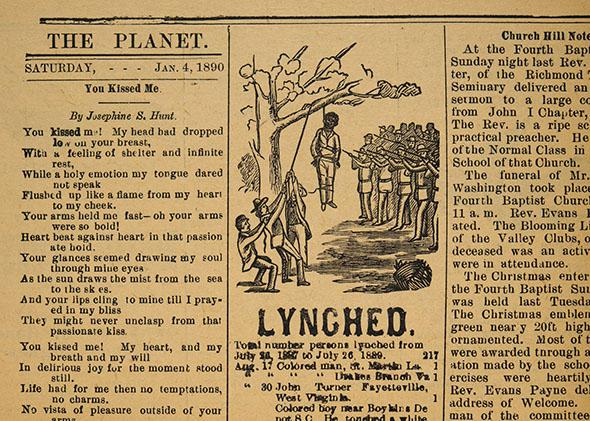 Page with a list of the most recent lynchings of African Americans and a drawing of a lynching with armed men standing guard, Richmond Planet, January 4, 1890 .