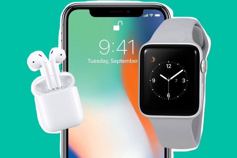 AirPods, iPhone, and Apple Watch.