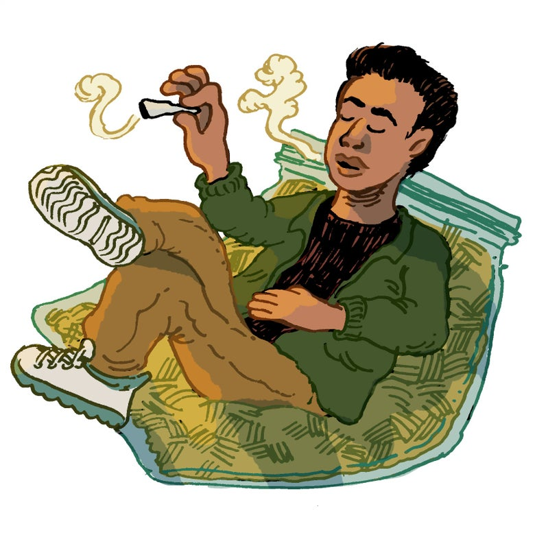 Illustration of Kumar smoking weed.