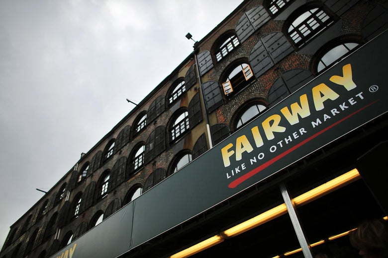 Building facade with Fairway sign in Red Hook, Brooklyn.