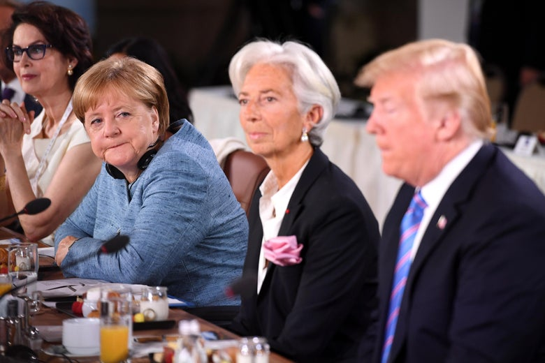 Merkel, Lagarde, Trump at the G-7 summit.