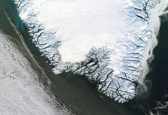 Satellite view of icy Greenland