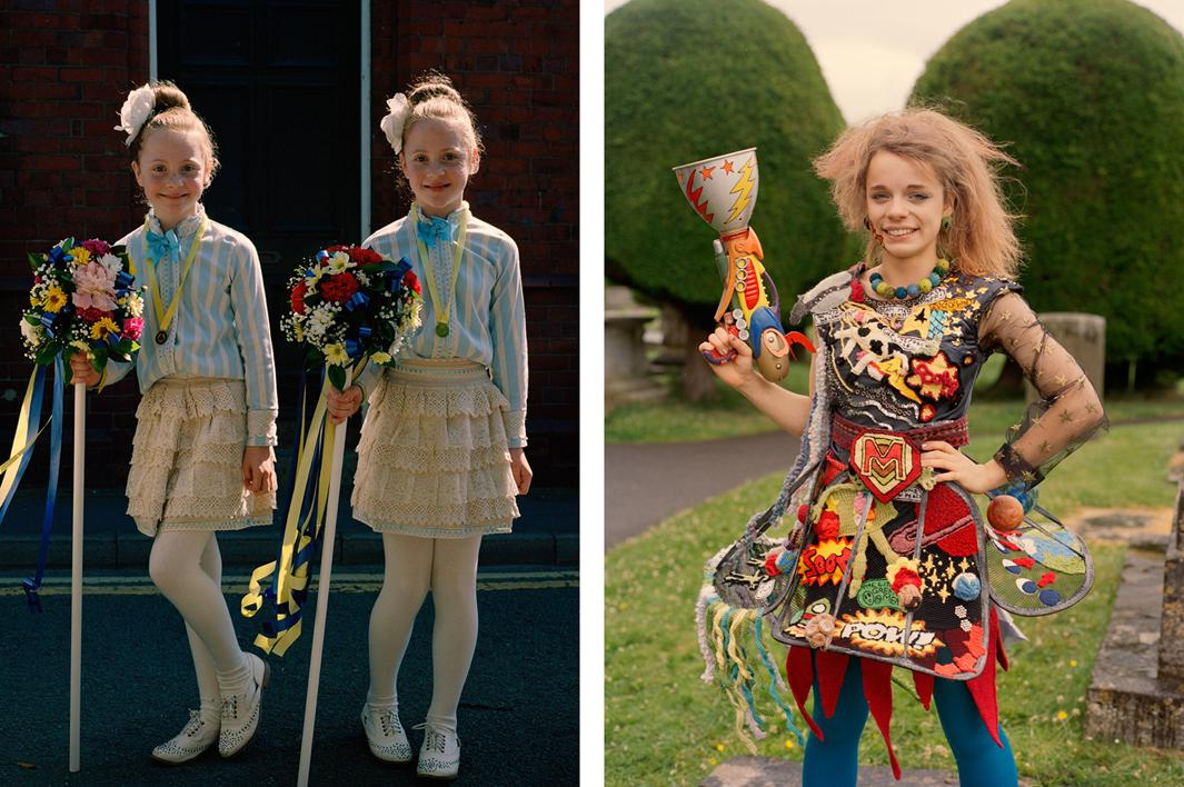 Left: Twins at the Neston Female Society's Ladies Club Day. Right: Meredith at Art Couture Painswick, wearing an outfit that took her a year to assemble.