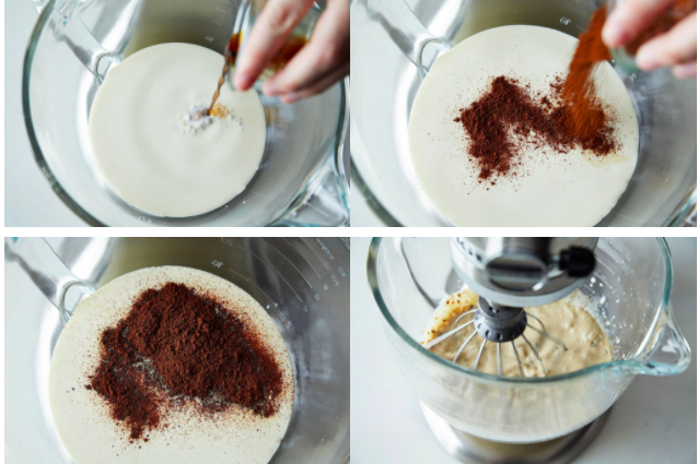 A series of four images: a bowl of white liquid with brown liquid being added; a hand adding dark brown powder to the bowl; the mixture with the powder sitting on its surface; a whisk in the mixture, now a light brown liquid.