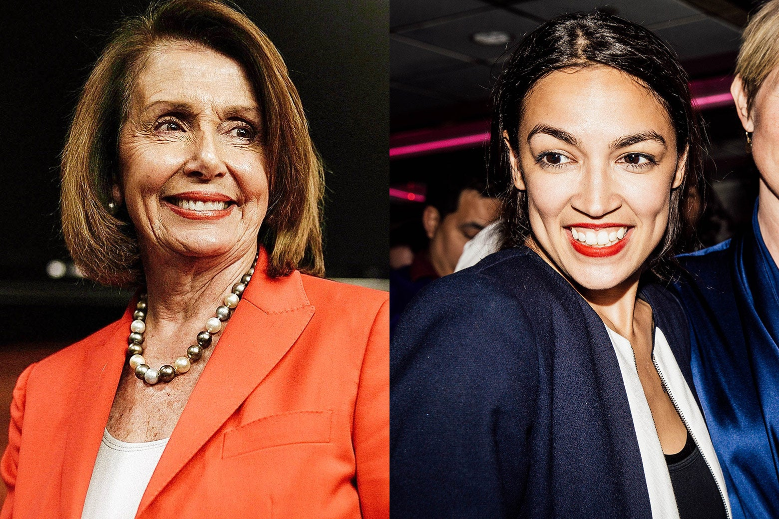 Side by side images of Pelosi and Ocasio-Cortez.