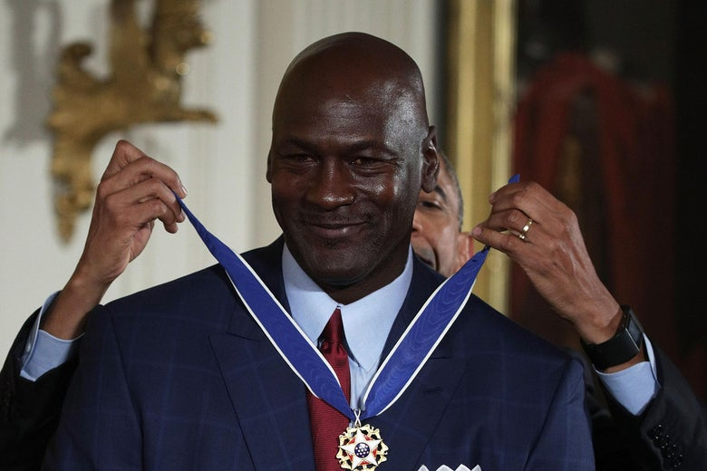 WASHINGTON, DC - NOVEMBER 22:  U.S. U.S. President Barack Obama presents the Presidential Medal of Freedom to former NBA star Michael Jordan during an East Room ceremony at the White House November 22, 2016 in Washington, DC. The Presidential Medal of Freedom is the highest honor for civilians in the United States of America.  (Photo by Alex Wong/Getty Images)