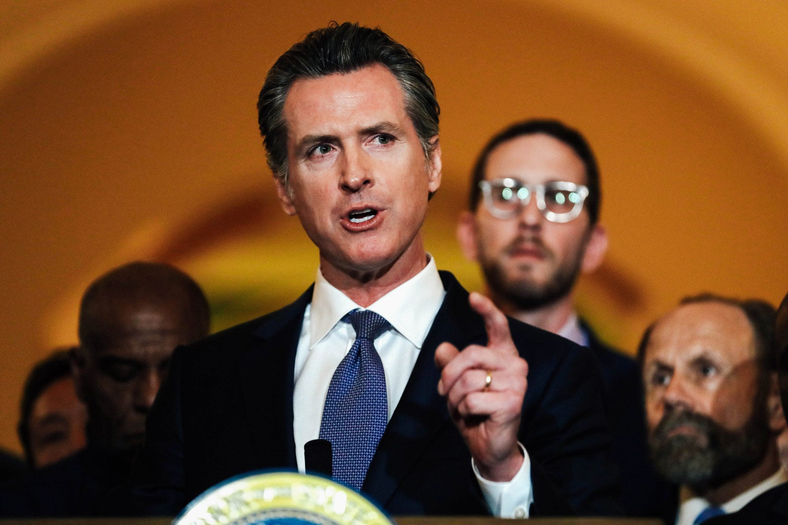 California Gov. Gavin Newsom speaks during a news conference at the California State Capitol on March 13.