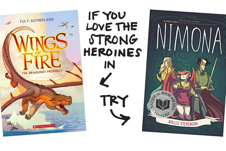 If you love the strong heroines in Wings of Fire, try Nimona.