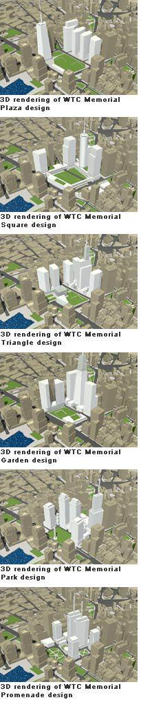 3D renderings of the WTC Memorial Plaza design