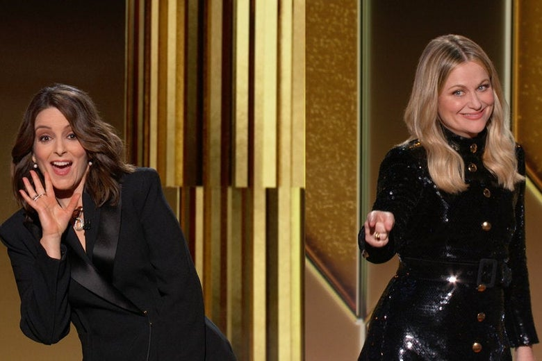 Tina Fey and Amy Poehler joke with each other at the Golden Globe Awards.