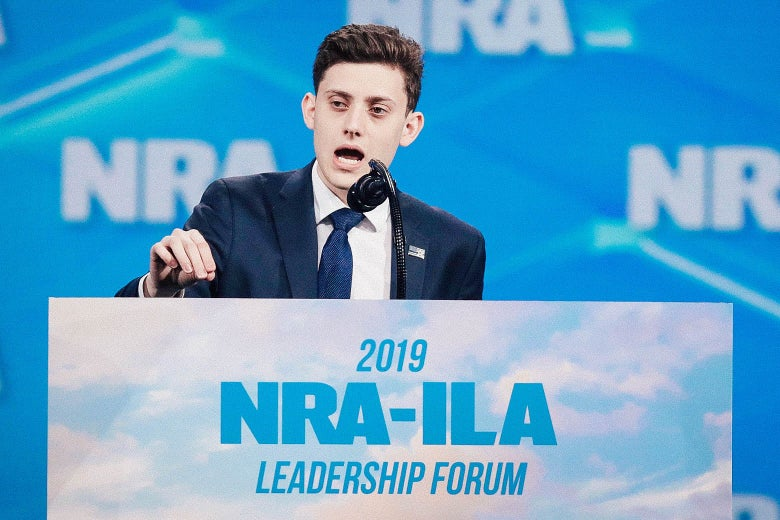 Kyle Kashuv speaks at the NRA-ILA Leadership Forum on April 26 in Indianapolis.