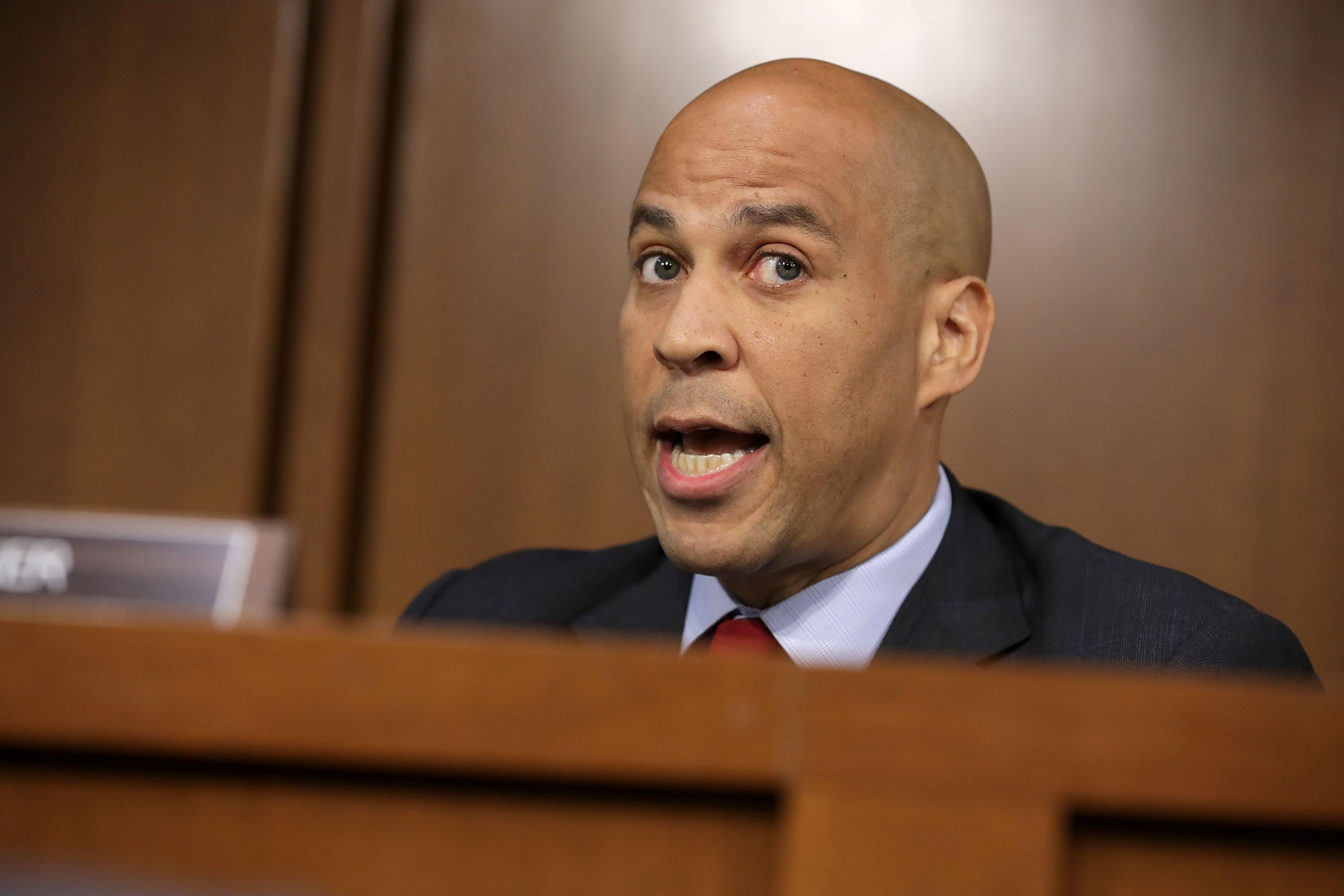 Senate Judiciary Committee member Cory Booker argues with Republican members of the committee during the third day of Supreme Court nominee Judge Brett Kavanaugh's confirmation hearing.
