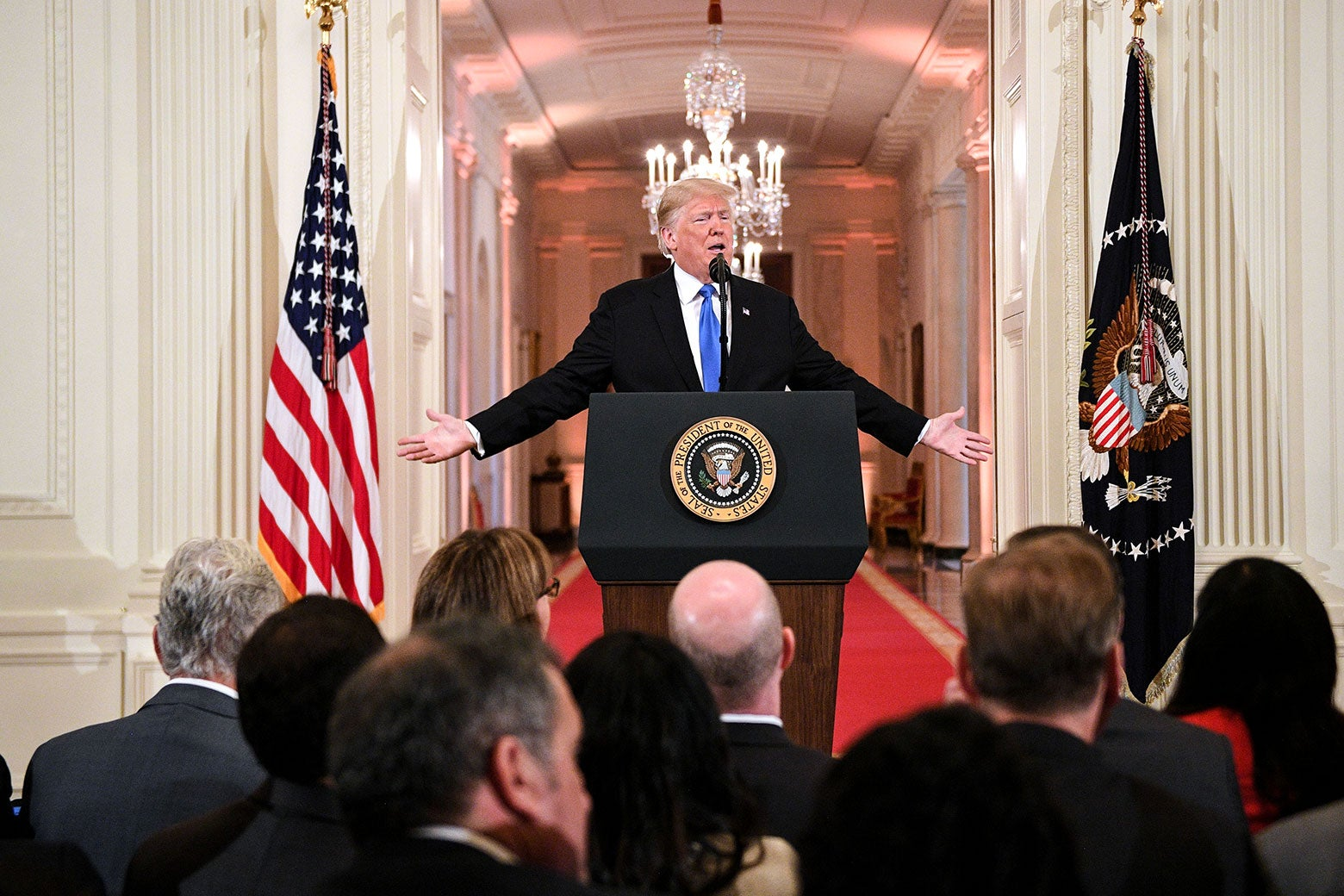 President Donald Trump speaks during a press conference at the White House in Washington on Wednesday.