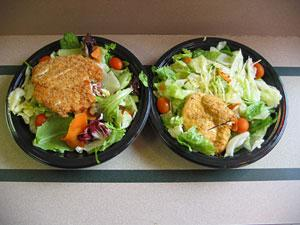 Fat is where the flavor's at: California Cobb (left) vs. Chicken Caesar