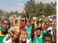 Protestors at the 2006 Great Ethiopian Run in Addis Ababa. Click image to expand.