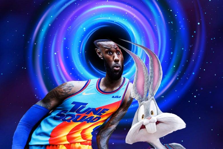 LeBron James and Bugs Bunny are sucked toward a cartoonish black hole.