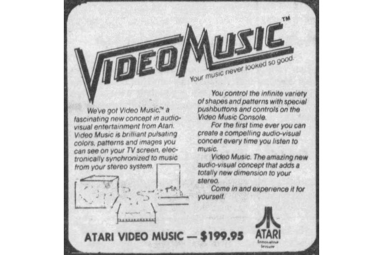 An ad for the Atari Video Music System, $199.95.