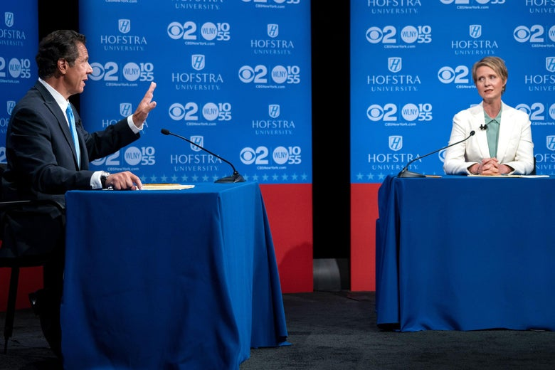 Andrew Cuomo and Cynthia Nixon at their lone debate in August.