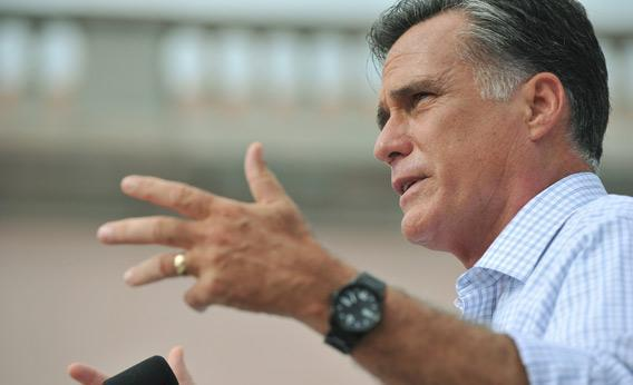 Mitt Romney speaks at a campaign rally