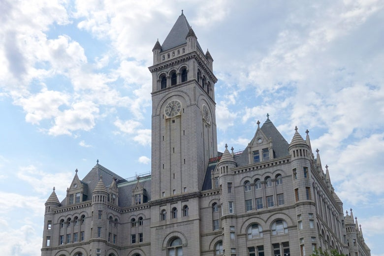 The site of the Trump International Hotel is seen August 1, 2015 in Washington, D.C.