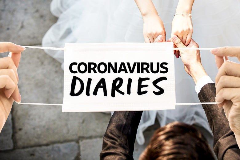 """A view from above of two newlyweds holding hands, with a mask with the words """"Coronavirus Diaries"""" draped over the setting"""