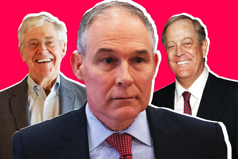 Charles Koch, EPA administrator Scott Pruitt, and David Koch.