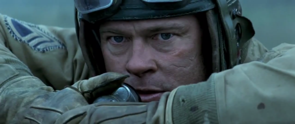 Brad Pitt in a tank in the trailer for Fury.