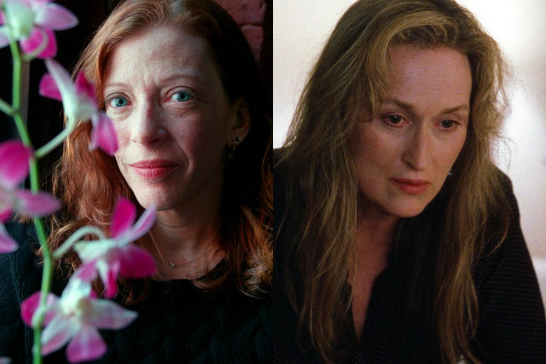 """Susan Orlean side by side with the fictional """"Susan Orlean"""" played by Meryl Streep in Adaptation."""