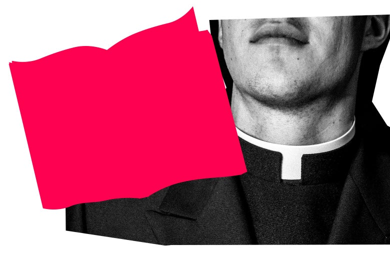 A man wearing a cassock is partially visible.