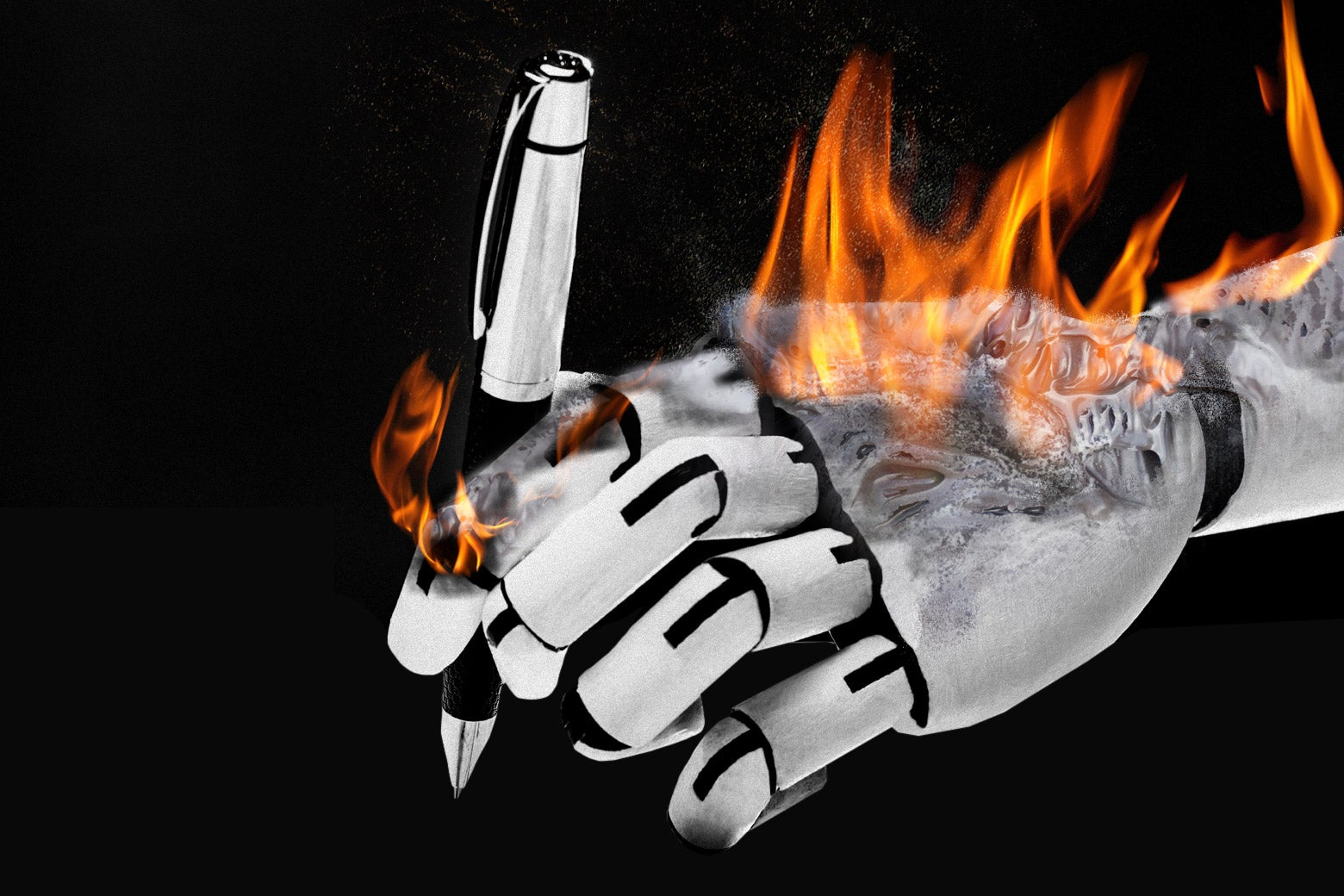 A robot hand holding a pen as it goes down in flames.